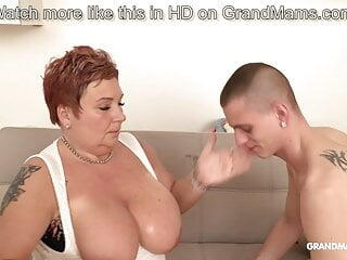 Chubby granny sucks 3 dicks from horny young boys
