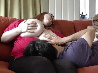 BBw with enormous tits fucked on the sofa